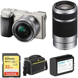 Sony   Sony Alpha a6000 Mirrorless Digital Camera with 16-50mm and 55-210mm Lenses and Free Accessory Kit (Silver)