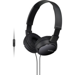 On-ear Headphones | Sony MDR-ZX110AP Extra Bass Smartphone Headset (Black)