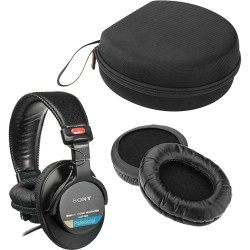 Sony MDR-7506 Headphones With Sheepskin Leather Earpads & Carrying Case Kit