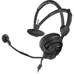 Single-Ear Headsets | Sennheiser HMD26-II-600S-X3K1 Single-Sided Broadcast Headset with Hypercardioid Mic and XLR-3, 1/4 Cable